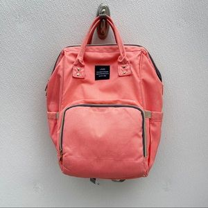 Land Baby Backpack coral pink peach grey diaperbag